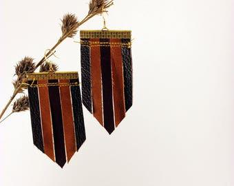 Clymene Brown Leather Earrings