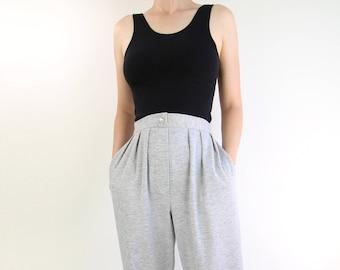 VINTAGE 1980s Sweatpants High Waist Pleated Tapered Leg Gray
