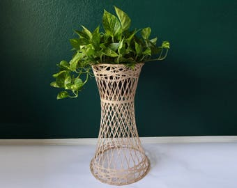 VINTAGE Plant Stand Wicker Planter 1960s Atomic Fiber Glass Russell Woodard Mid Century Decor