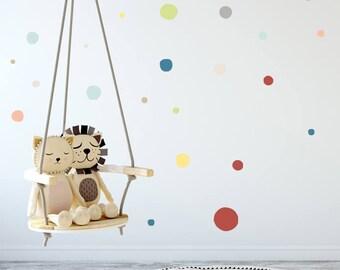 Gender Neutral Decor, Rainbow Polka dots, Wall Decals, Rainbow decal, Polka dots, Kids room, Modern Nursery Wall Decal, vinyl hand drawn dot