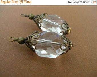 ON SALE BD180 Vintage Style Stacked Antique Brass Capped Clear Crystal Pendants set of 2
