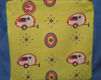 """Camping Zipper Tote, Purse, Bag 8"""" X 8"""" Red TAB Teardrop Camping Trailers on Yellow"""