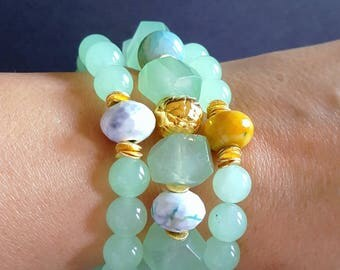 New! Seafoam Green Chunky Stack Bracelet with Agate and Gold Vermeil Accents Set of 3 or Sold Individually Gift for Her