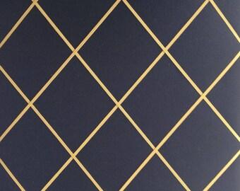 "Pin Board/Notice Board ""Black Felt with Gold Elastic Lattice"" Message,Memo,Bulletin Board Large 48x40cm or 18x16 inch"