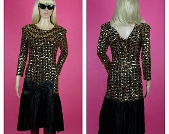 Vintage 1980s Black and Gold Sequins Big Bow Party Dress