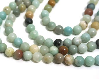 8mm Flower Amazonite beads, round natural gemstone, Full & Half Strands available  (587S)