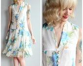 1960s Dress // Blue Poppy Silk Dress // vintage 60s does 20s dress