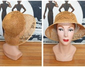 1950s Hat // Woven Straw Safari Hat // vintage 50s hat