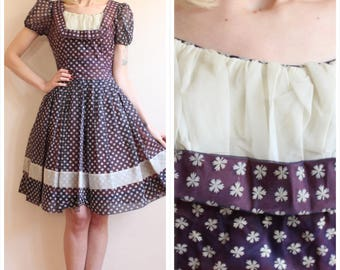 1950s Dress // Flocked Snowflake Dress // vintage 50s dress