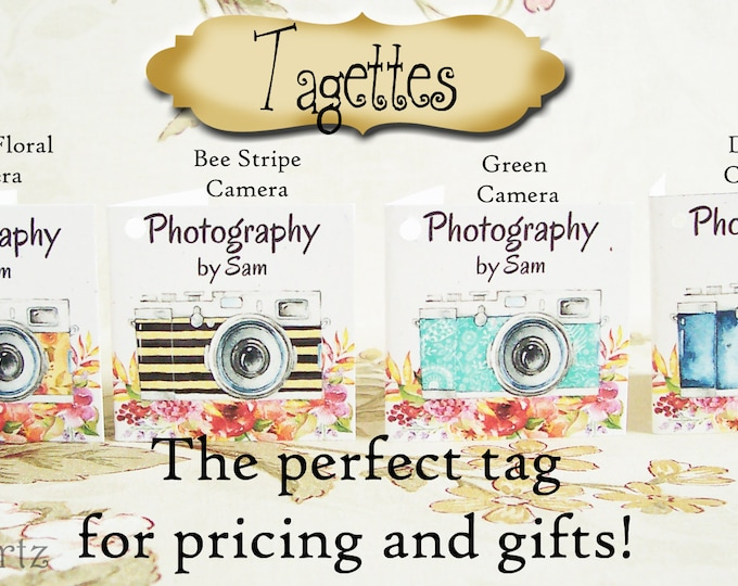 45-TAGETTES•CAMERA Mix•Mini Tags•Hang tags•Gift Tags•Favor Tags•Paper Tags•Price Tags•Clothing Tags