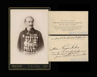Military or Political Man w/ 20000 Medals on Chest ID'd as Salins ? Signed Card
