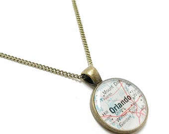 Orlando Map Necklace. Orlando Necklace. Made With A Real 1956 Vintage Map. Ready To Ship. Florida Map Pendant Jewelry. Travel Gifts For Her