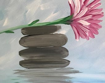 Canvas art peaceful spa day reflected rocks
