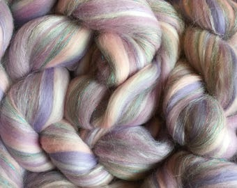 Shimmer Pastel Lilac - Merino Wool/Silk/Trilobal Mix for Needle Felting, Wet Felting & Spinning approx 45gm