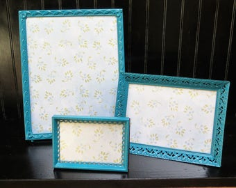 Set of 3 Dark Teal  Picture Frames Painted Blue Lagoon 8 x 10, 5 x 7, 3 x 5