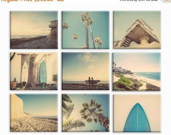 FLASH SALE til MIDNIGHT Set of 9 Surf Beach Decor Canvas prints, beach photos, , yellow, turquoise, sunset, retro, vintage surf home decor,