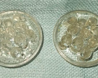 2 Vintage 1950's or 1960's Clear Glass Flower Frogs-Flower Bases each with 11 Holes