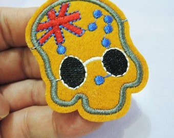 Skull Head Patches - Iron on Patches or Sewing on Patch Skull Patches Embroidered Patch Round Halloween Face Embellishment