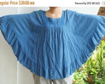 ON SALE 40% off, B8, Blue Butterfly Effect Cotton Blouse, blue blouse