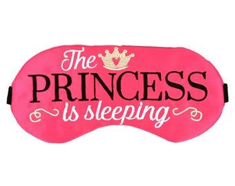 The Princess is Sleeping Satin Sleep Mask in Hot Pink