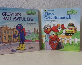 Two Vintage Hardcover Sesame Street Books, Featuring Jim Henson's Muppets, 1986 and 1990
