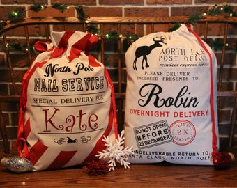 Santa Bag, PERSONALIZED, Red and White Striped, Reindeer, Post Office, Gift Bag, Santa Sack, Candy Cane, Christmas, Present