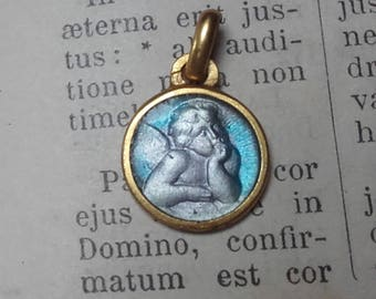 Antique French Religious Medal Pendant Gold Turquoise Enamel cherub pensive angel putti