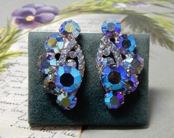 JULIANA  /  D & E Blue Aurora Borealis Rhinestone Clip On Earrings    OEO44