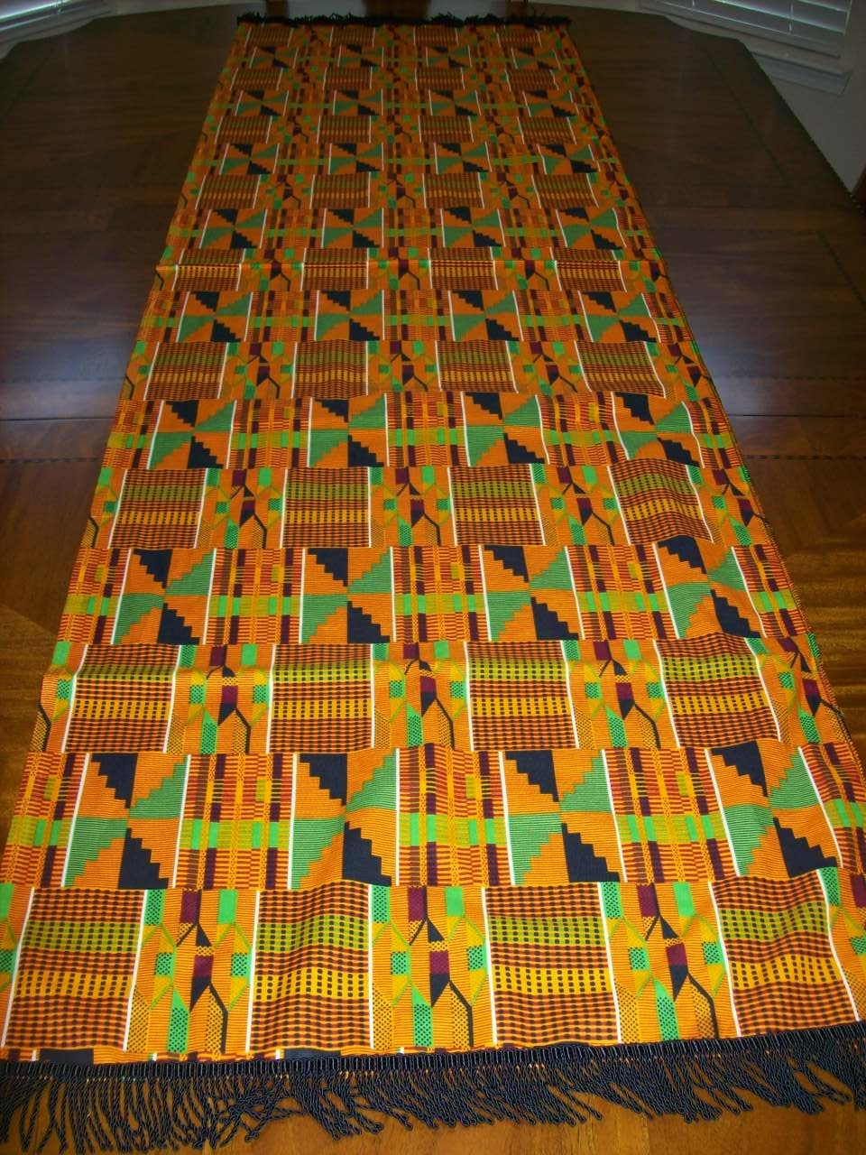 Kente #2 Table Runner With Fringe/ Kente Print Table Cloth/ Kente Cloth  Fabric