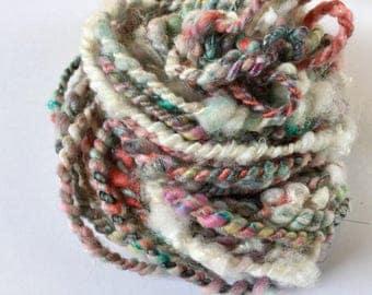 Handspun art yarn, chunky yarn, bulky yarn, to ply, 20 yards