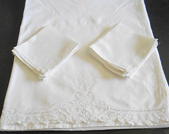 """Vintage BATTENBERG LACE Tablecloth & 12 Napkins Set Looped Tapes White on White Cotton 90"""" w x 106"""" Xtra Long Table Cover 1980s Unused"""