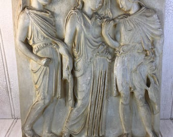 Vintage Caproni Bros. Classical Painted Cast Plaster Relief Panel Zeus, Antiopa and Ampion