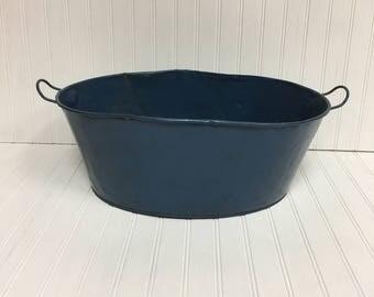 Vintage Blue Metal Doll Wash Tub