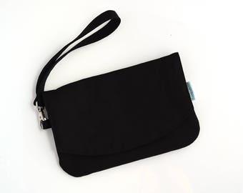 Cell Phone Pouch - Black Purse - Cellphone Holder - Smartphone Wristlet - Travel Purse - Minimalist Purse - Best Friend Gift for Her