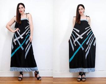 Vintage 70's Abstract Geometric Hippie Smock Sun Dress Boho Maxi Dress 70's