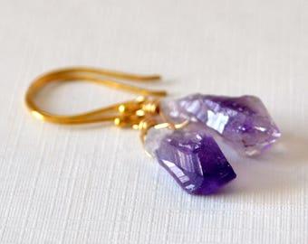 Raw Amethyst Earrings, Gold Vermeil, Drop Earrings, Rough Purple Gemstone, February Birthstone Jewelry, Free Shipping