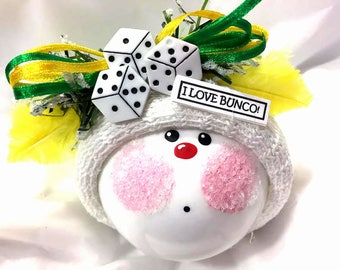 Bunco Christmas Ornaments Custom Hand Painted White Glass Handmade Personalized Themed by Townsend Custom Gifts Yellow Feathers (D) - BR