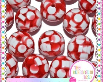 20mm RED & WHITE CONFETTI Bubblegum Bead, Chunky Bead, Gumball Bead, Acrylic Bead, Round Bead, Diy Jewelry Supply, The Bubblegum Bead Co.