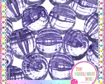 20mm PURPLE FACETED TRANSPARENT Disco Bead, Bubblegum Chunky Bead, Gumball Bead, Acrylic Bead, Round Bead, Diy Supply, The Bubblegum Bead Co
