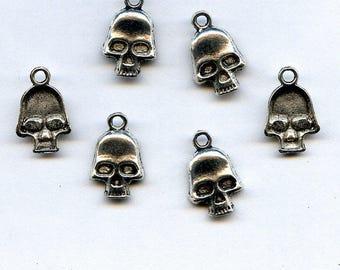 Skull Charms  Antique Silver Quantity Ten