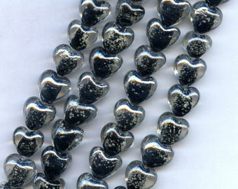 Black and Silver Glass Heart Beads