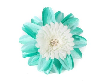 Aqua and White Tropical Pinup Hair Flower Fascinator Clip with Pearls