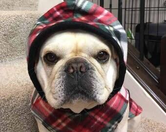 French Bulldog Red and Black Diagonal Tartan Plaid Fleece Hoodie
