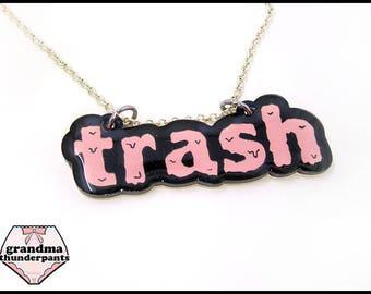 Trash Necklace, Fandom, Trashy Jewelry, Pink Garbage Can, Trash Jewelry