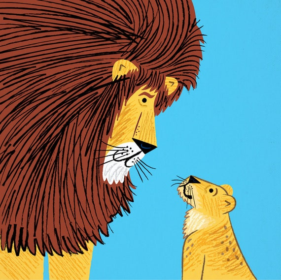 Listen To The Lion - art poster print by Oliver Lake - iOTA iLLUSTRATiON