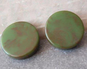 Green Bakelite Earrings Round Disks Post Vintage V0751