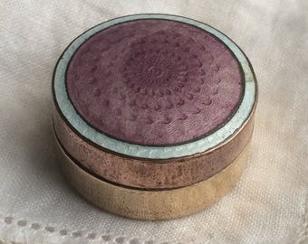 Lovely Vintage Art Deco Lilac Guilloche Enamel Pill Trinket Box
