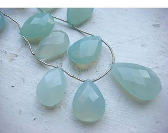 ON SALE 55% Chalcedony - Chalcedony Briolettes - 24x17mm to 19x14mm Pear Shaped Faceted Briolettes - 6 Pieces