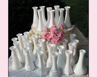 The Wedding Collection/ Vintage Milk Glass Bud Vase Collection of Twenty