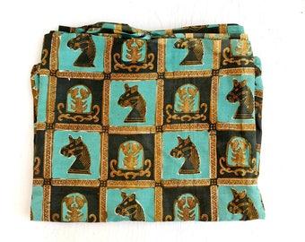 """Vintage Lumur Mas Batik Fabric Piece 48"""" x 97"""" Horses Crabs Chess Egyptian Gold Aqua Teal Lightweight Cotton Beautiful"""